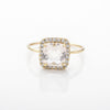 White Quartz Square Sparkle Ring