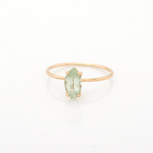 Green Marquee Fluorite Gold Ring
