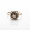 Smokey Quartz Square Sparkle Ring