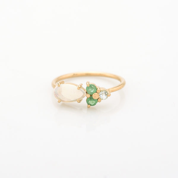 Scatter Opal & Emerald Ring
