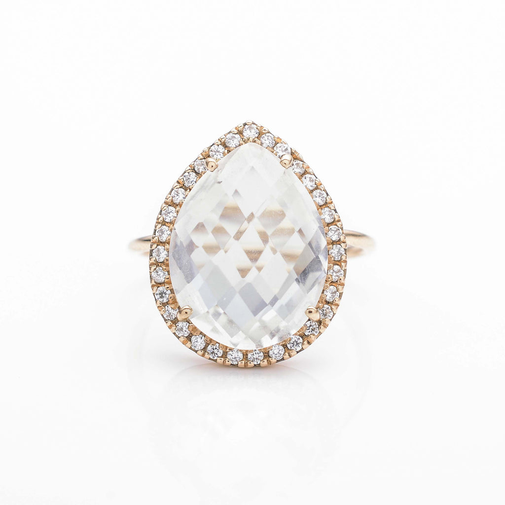 White Quartz Sparkle Cocktail Ring