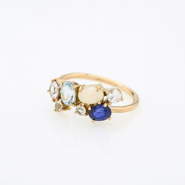 Scatter Sparkle Aqua Marine & Sapphire Ring