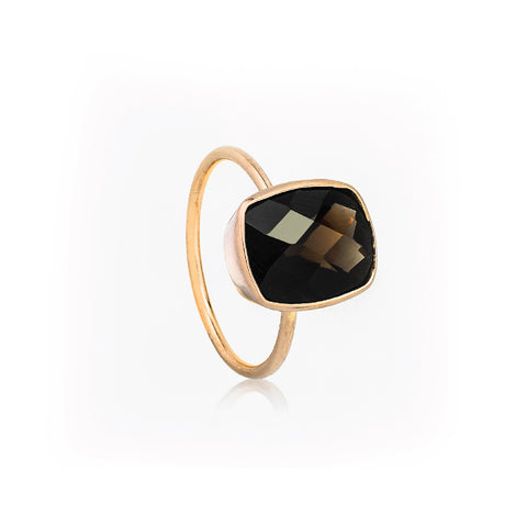 SJK Rocks - Dark Smokey Quartz Stacking Ring
