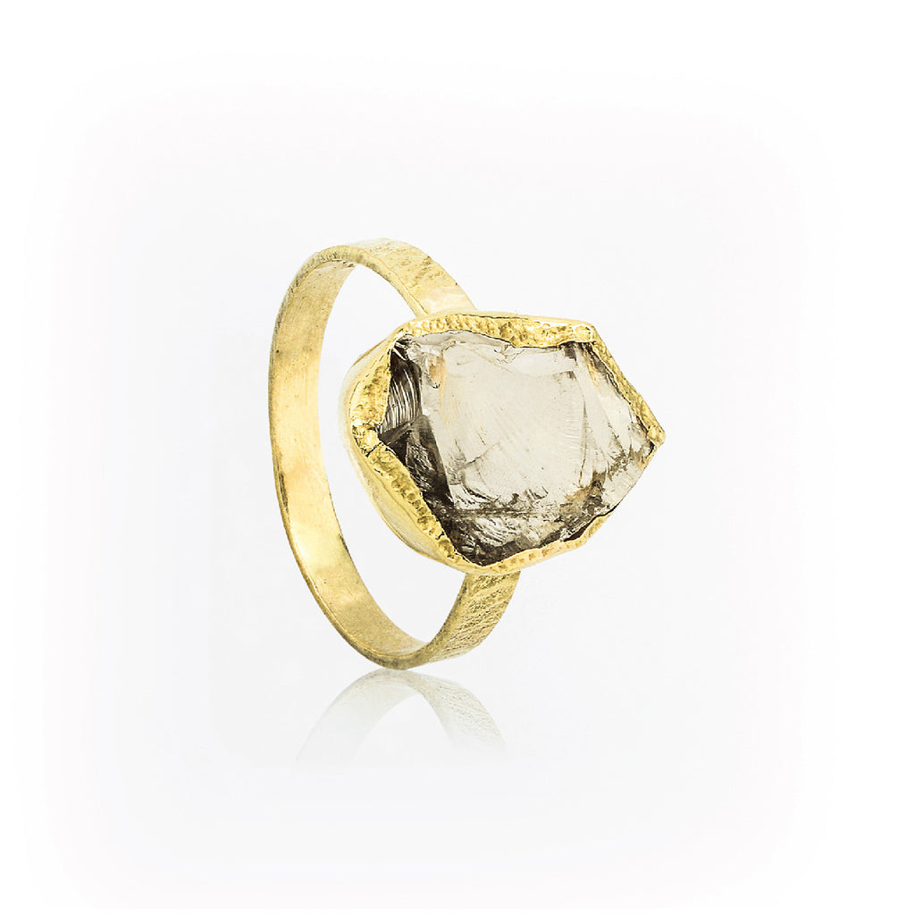 SJK Rocks - Raw Cut Smokey Quartz Ring