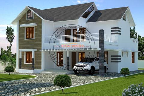 Colonial - 4 BHK Villa Design - 2607 sqft - Home design for any budget, [Product_type] - Villa elevations, PACKAGE INCLUDES: Floor plans, 2D elevation & 3D views - Buildon Ideas, BuyHOMEDESIGN.com - buyhomedesign.com