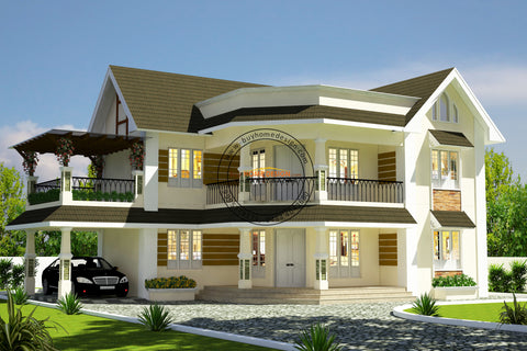Colonial - 4 BHK Villa Design - 2798 sqft - Home design for any budget, [Product_type] - Villa elevations, PACKAGE INCLUDES: Floor plans, 2D elevation & 3D views - Buildon Ideas, BuyHOMEDESIGN.com - buyhomedesign.com