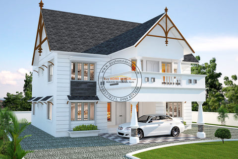 Colonial - 4 BHK Villa Design - 3482 sqft - Home design for any budget, [Product_type] - Villa elevations, PACKAGE INCLUDES: Floor plans, 2D elevation & 3D views - Buildon Ideas, BuyHOMEDESIGN.com - buyhomedesign.com