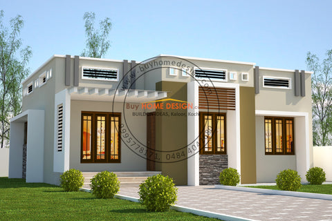 Contemporary - 2 BHK Villa Design - 910 sqft - Home design for any budget, [Product_type] - Villa elevations, PACKAGE INCLUDES: Floor plans, 2D elevation & 3D views - Buildon Ideas, BuyHOMEDESIGN.com - buyhomedesign.com