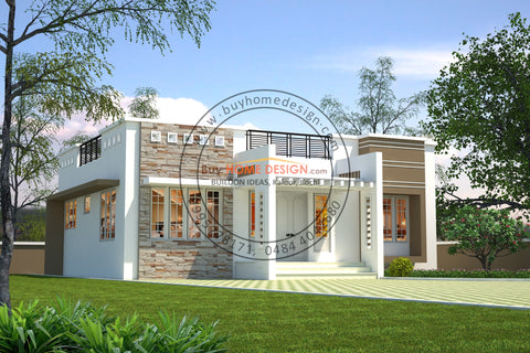 Contemporary - 2 BHK Villa Design - 970 sqft - Home design for any budget, [Product_type] - Villa elevations, PACKAGE INCLUDES: Floor plans, 2D elevation & 3D views - Buildon Ideas, BuyHOMEDESIGN.com - buyhomedesign.com