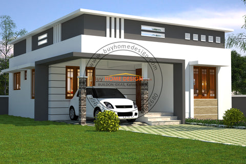 Contemporary - 2 BHK Villa Design - 858 sqft - Home design for any budget, [Product_type] - Villa elevations, PACKAGE INCLUDES: Floor plans, 2D elevation & 3D views - Buildon Ideas, BuyHOMEDESIGN.com - buyhomedesign.com