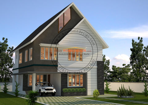Colonial - 5 BHK Villa Design - 2235 sqft - Home design for any budget, [Product_type] - Villa elevations, PACKAGE INCLUDES: Floor plans, 2D elevation & 3D views - Buildon Ideas, BuyHOMEDESIGN.com - buyhomedesign.com