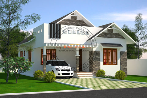 Colonial - 2 BHK Villa Design - 858 sqft - Home design for any budget, [Product_type] - Villa elevations, PACKAGE INCLUDES: Floor plans, 2D elevation & 3D views - Buildon Ideas, BuyHOMEDESIGN.com - buyhomedesign.com