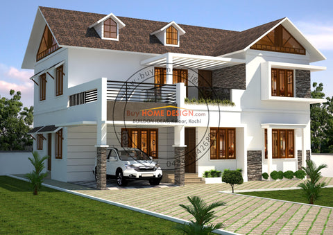Colonial - 5 BHK Villa Design - 2267 sqft - Home design for any budget, [Product_type] - Villa elevations, PACKAGE INCLUDES: Floor plans, 2D elevation & 3D views - Buildon Ideas, BuyHOMEDESIGN.com - buyhomedesign.com