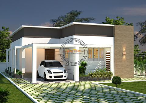 Contemporary - 2 BHK Villa Design - 973 Sqft - Home design for any budget, [Product_type] - Villa elevations, PACKAGE INCLUDES: Floor plans, 2D elevation & 3D views - Buildon Ideas, BuyHOMEDESIGN.com - buyhomedesign.com