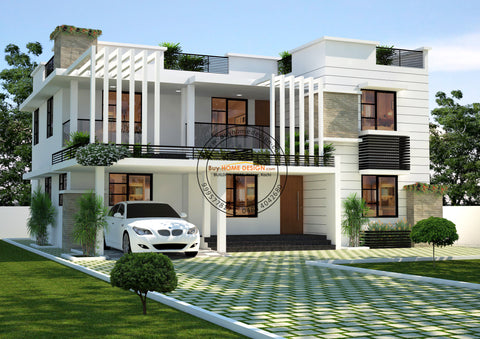 Contemporary - 4 BHK Villa Design - 2592 sqft - Home design for any budget, [Product_type] - Villa elevations, PACKAGE INCLUDES: Floor plans, 2D elevation & 3D views - Buildon Ideas, BuyHOMEDESIGN.com - buyhomedesign.com