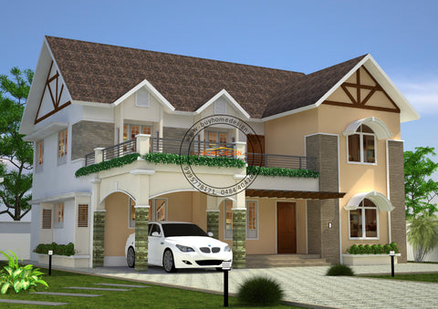 Colonial 4 BHK Villa Design - 2592 sqft - Home design for any budget, [Product_type] - Villa elevations, PACKAGE INCLUDES: Floor plans, 2D elevation & 3D views - Buildon Ideas, BuyHOMEDESIGN.com - buyhomedesign.com