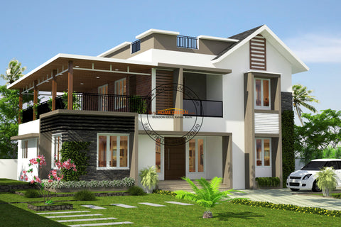 Colonial - 4 BHK Villa Design - 2112 sqft - Home design for any budget, [Product_type] - Villa elevations, PACKAGE INCLUDES: Floor plans, 2D elevation & 3D views - Buildon Ideas, BuyHOMEDESIGN.com - buyhomedesign.com