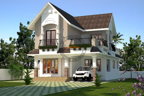 Colonial - 3 BHK Villa Design - 1586 sqft - Home design for any budget, [Product_type] - Villa elevations, PACKAGE INCLUDES: Floor plans, 2D elevation & 3D views - Buildon Ideas, BuyHOMEDESIGN.com - buyhomedesign.com