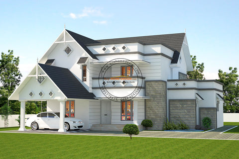 Colonial - 4 BHK Villa Design - 2800 sqft - Home design for any budget, [Product_type] - Villa elevations, PACKAGE INCLUDES: Floor plans, 2D elevation & 3D views - Buildon Ideas, BuyHOMEDESIGN.com - buyhomedesign.com