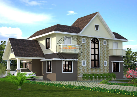 Colonial - 4 BHK Villa Design - 2484 sqft - Home design for any budget, [Product_type] - Villa elevations, PACKAGE INCLUDES: Floor plans, 2D elevation & 3D views - Buildon Ideas, BuyHOMEDESIGN.com - buyhomedesign.com