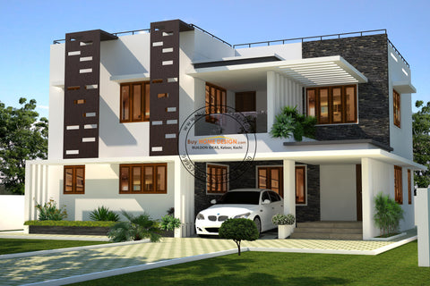 Contemporary - 4 BHK Villa Design - 2267 sqft - Home design for any budget, [Product_type] - Villa elevations, PACKAGE INCLUDES: Floor plans, 2D elevation & 3D views - Buildon Ideas, BuyHOMEDESIGN.com - buyhomedesign.com