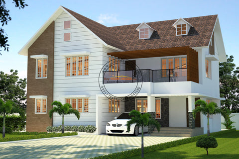 Colonial - 4 BHK Villa Design - 2267 Sqft - Home design for any budget, [Product_type] - Villa elevations, PACKAGE INCLUDES: Floor plans, 2D elevation & 3D views - Buildon Ideas, BuyHOMEDESIGN.com - buyhomedesign.com