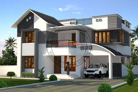 Colonial Premium - 5 BHK Villa Design - 2539 sqft - Home design for any budget, [Product_type] - Villa elevations, PACKAGE INCLUDES: Floor plans, 2D elevation & 3D views - Buildon Ideas, BuyHOMEDESIGN.com - buyhomedesign.com