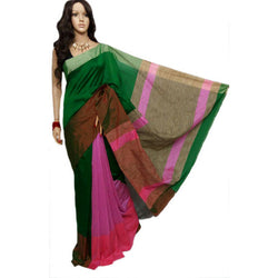 Green & Purple Mahapar Saree With Ghicha Work - Indianloom
