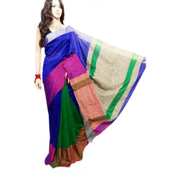 Blue & Green Mahapar Saree With Ghicha Work - Indianloom