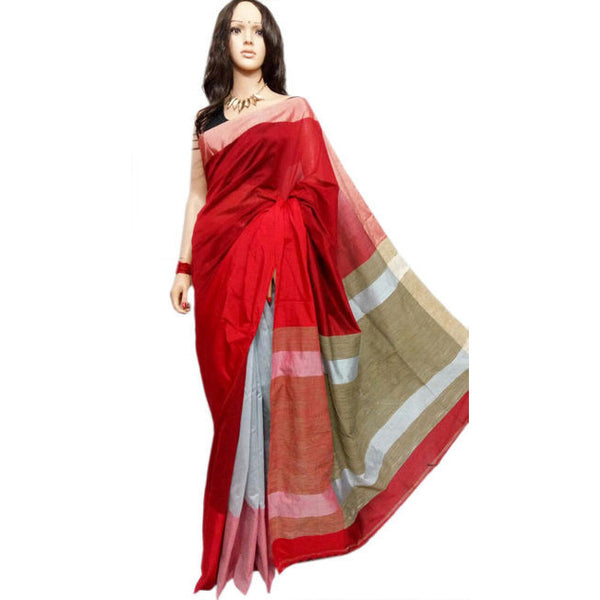 Red & Ivory White Mahapar Saree With Ghicha Work - Indianloom