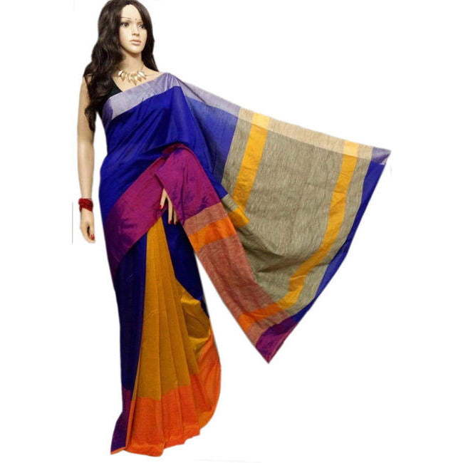 Blue & Mustard Yellow Mahapar Saree With Ghicha Work - Indianloom