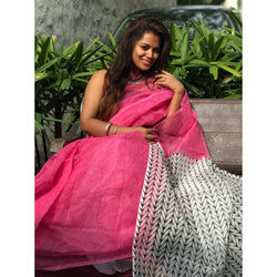 Pink & White Kota Saree with Block Prints - Indianloom