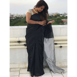 Black Handloom Tussar & Cotton Mixed Saree with Silver Pallu - Indianloom