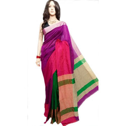 Purple & Green Mahapar Saree With Ghicha Work - Indianloom