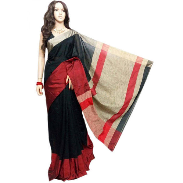 Black & Vine Red Mahapar Saree With Ghicha Work - Indianloom