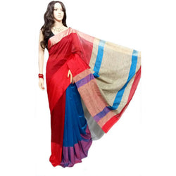 Red & Blue Mahapar Saree With Ghicha Work - Indianloom