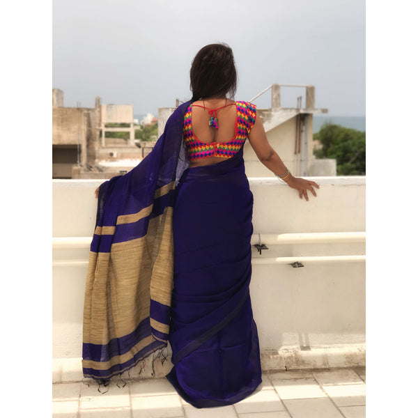 Dark Blue Handloom Silk by Noil Saree with Gicha Work Pallu - Indianloom