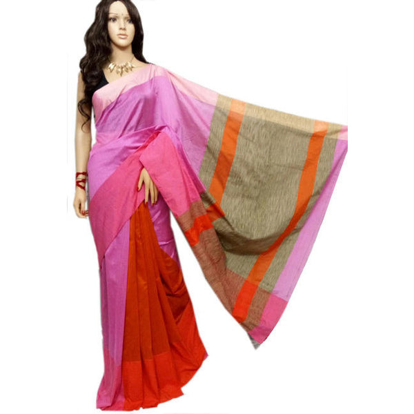 Lavender & Orange Mahapar Saree With Ghicha Work - Indianloom