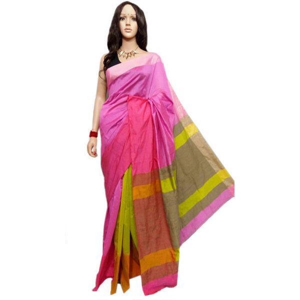 Lavender & Yellow Mahapar Saree With Ghicha Work - Indianloom
