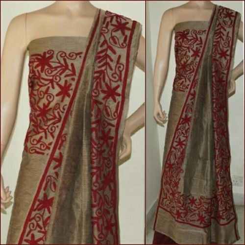 Aari Red & Brown Suit Material - Indianloom