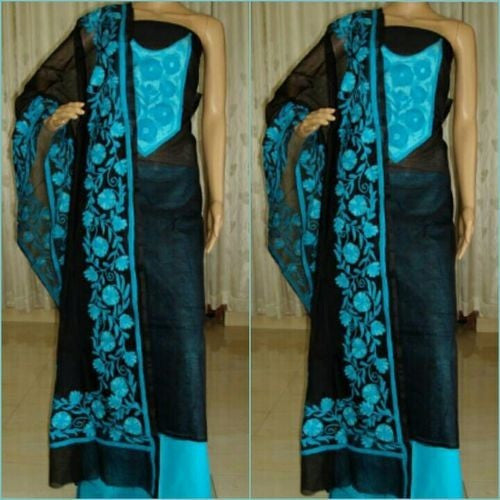 Aari Blue Floral & Black Suit Material - Indianloom