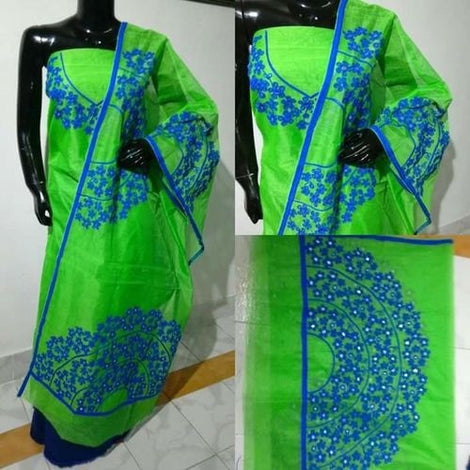 Aari Blue Garden & Green Suit Material - Indianloom