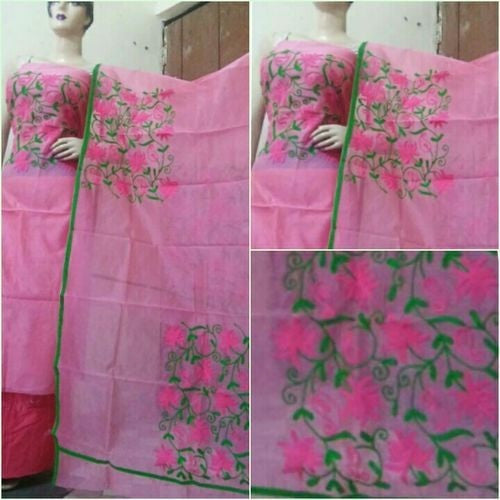 Aari Green & Pink Floral Suit Material - Indianloom