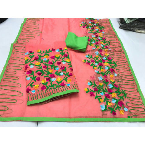 Aari Multi Colour Pink Suit Material - Indianloom