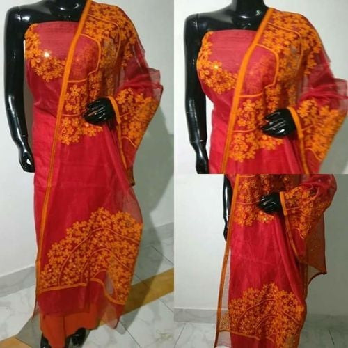 Aari Orange & Pink Suit Material - Indianloom