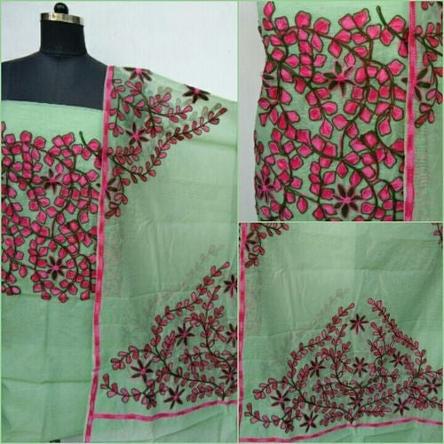 Aari Pink & Green Suit Material - Indianloom