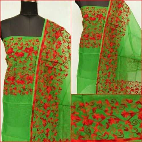 Aari Red & Green Suit Material - Indianloom