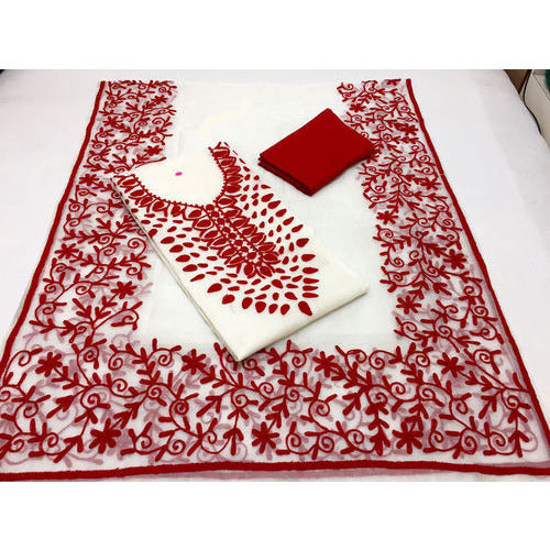 Aari Red Magic & White Suit Material - Indianloom