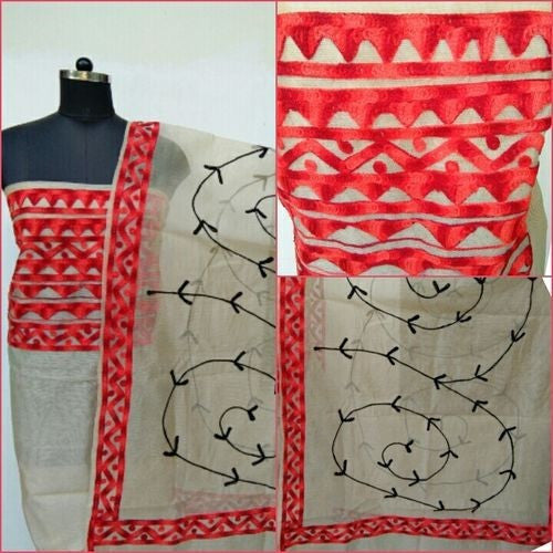 Aari Red & Off White Suit Material - Indianloom
