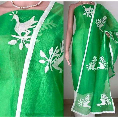 Aari White Peacock & Green Suit Material - Indianloom